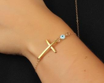 "Evil eye bracelet, Sideways cross bracelet, gold filled bracelet, protection bracelet, gold cross bracelet, faith bracelet, ""Syrinx"""