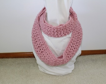 Pink rose crochet infinity scarf
