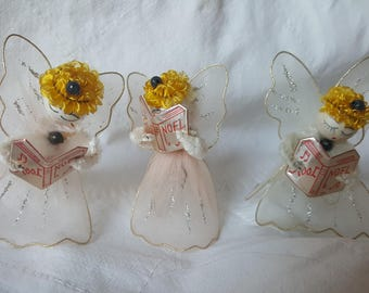 3 Vintage Christmas Angels White and Pink Netting Wings Spun Cotton  Heads