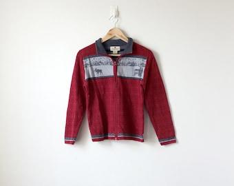 90s Woolrich Zip Sweater - 90s Sweater - Christmas Sweater - Fair Isle Sweater - Red Sweater - Vintage Woolrich Sweater - Women's XS