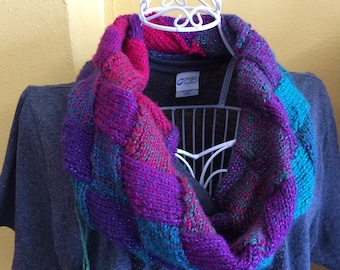 Entrelac Jewel-tone Hand Knitted Cowl