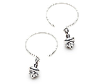 Silver earrings hoop hooks, CONCENTRIQ collection, spinning top shape, lathe carved