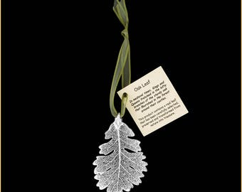 Real Oak Leaf Ornaments Dipped In Silver with Ribbon and Hang Tag - Real Dipped Leaves - Christmas Ornaments