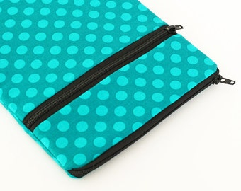 iPad Pro 9.7 Cases, Galaxy Tab Pro Sleeve, Kindle Fire HD 8 Purse, Kobo Touch 2.0 Case, iPad Mini 2/3/4 Travel Bags - teal blue dots