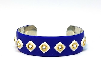 Polymer Clay - Blue, White and Gold Cuff Bracelet with Rhinestones