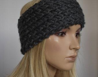Knit Head Wrap Headband Ear Warmer Charcoal Gray Winter