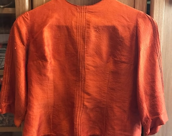 Vintage bright orange blouse 50s 60s