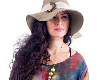 Safari Khaki  Wide Brim Hat ,  Autumn Spring Hat , Linen Women Handmade Hat , Floppy Vintage Inspired Hat