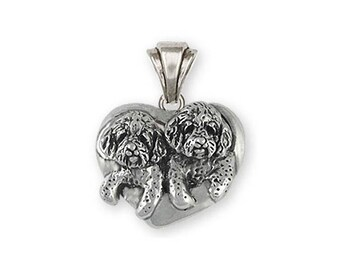Double Goldendoodle Jewelry Sterling Silver Double Goldendoodle Pendant Handmade Dog Jewelry GDL5-P