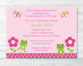 Cute Pink Frog Baby Shower Invitation / Frog Baby Shower Invite / Pink & Yellow / Baby Girl Shower / PRINTABLE A341