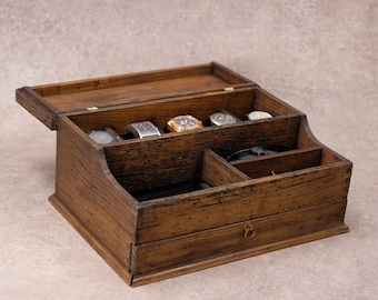 Men's Valet, Watch Case, Men's Watch Box, Valet Box, Watch Box for Men, Watch Box, Boyfriend Gift -Men's Valet Box for 5 watches with Drawer