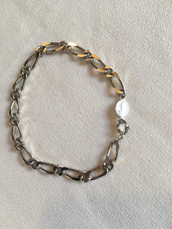 Vintage 70's Signed Napier Silvertone Chain Linked Empty Charm Bracelet ready for your charms