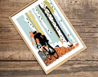 Into The Woods Blank Card, Card for Cyclists, Bicycle Card