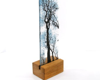 Fused Glass Blue Bubbles Tree in wood stand 21cm x 7.5cm