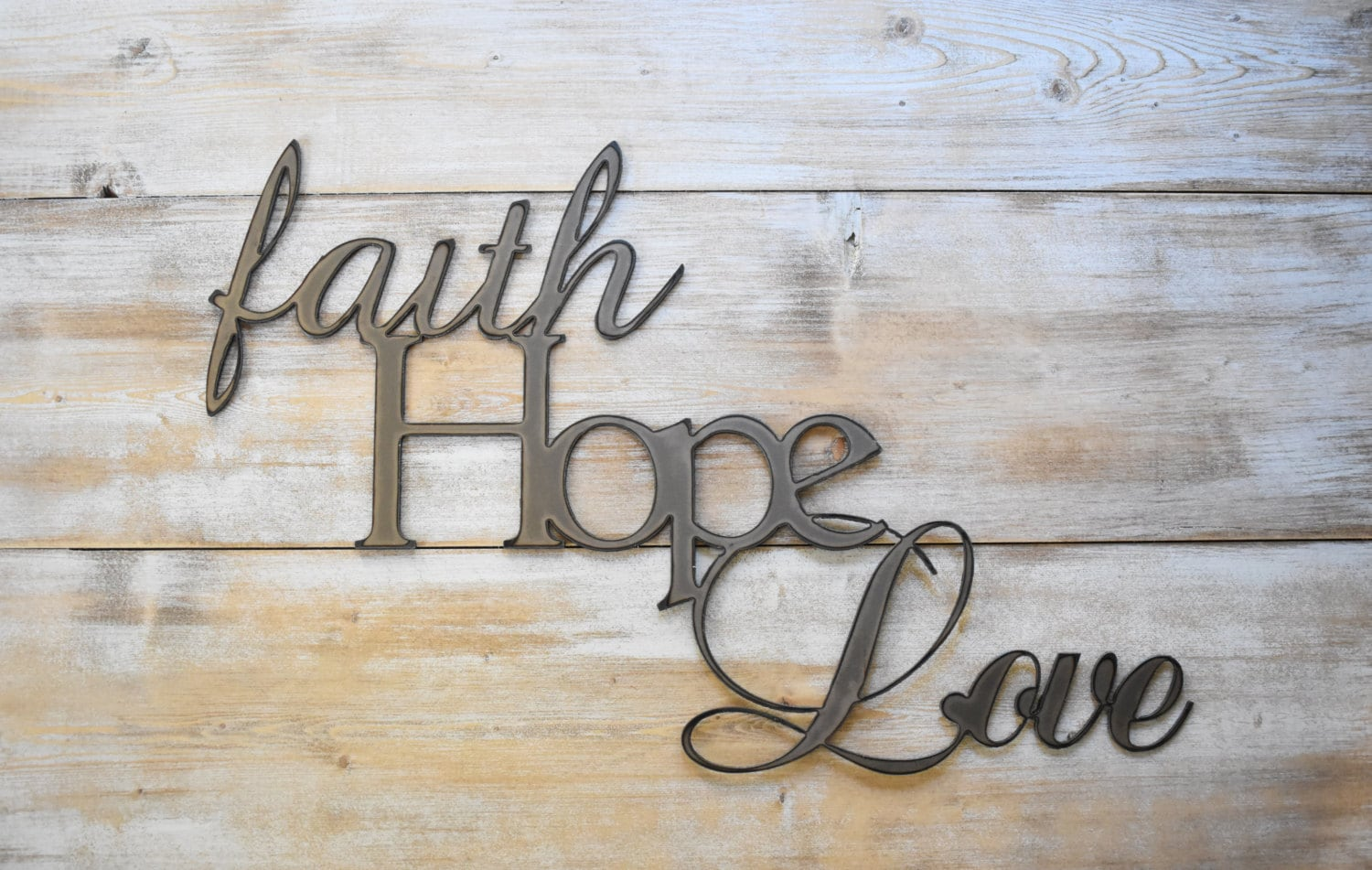 Large Metal Love Wall Art Metal Sign Faith Hope Love Word Sign Farmhouse Decor
