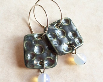 Pewter Glazed Porcelain and Opaline Earrings