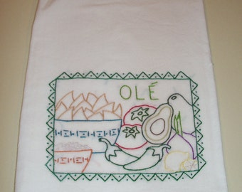 Some Like It Hot - Ole - Hand-Embroidered Kitchen Towel