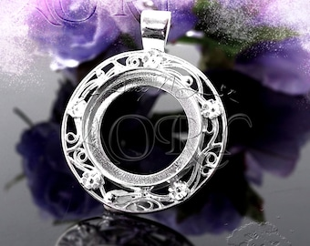 Mosaic supplies bronze antiqued large bezel dish bird pendant 1pcs 925 sterling silver bezel pendant setting for 24mm cabochon round shape 1752ws white silver color beautiful bezel with flowers aloadofball Gallery