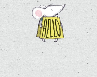HELLO… A Rosie & Radish 'Loud Mouse' Greeting Card