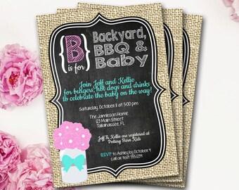 Baby BBQ Baby Shower Invitation, Baby-Q, BabyQ, B Is For Baby, Rustic Baby Shower, Chalkboard Invitation, Mason Jar Invite, DIY Printable