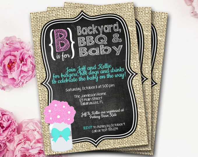 Baby BBQ Baby Shower Invitation, Baby-Q, BabyQ, B Is For Baby, Rustic Baby Shower, Chalkboard Invitation, Mason Jar Invite, DIY Printable