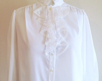 Vintage White High Collar Lacey Gothic Blouse 1980s Ladies Large or Extra Large