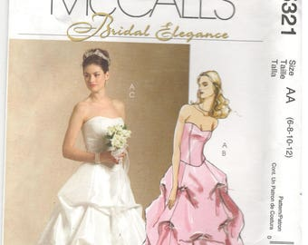 McCall's 5321 Size 6, 8, 10, 12 Women's pattern: Long formal top and skirt wedding gown, strapless, bride, bridesmaid, Bridal Elegance
