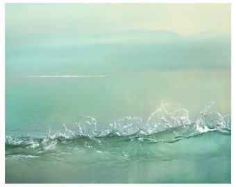 Zen wall art Minimalist landscape print Extra large wall art Abstract Water photography print Pastel sunrise Mint bedroom decor 30x30, 30x40