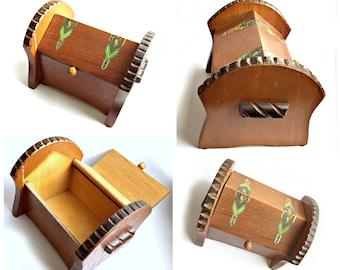 Natural Bark Wooden Box, Vintage Bark Box, Handmade Vintage Wood Box, Vintage Treasure Box, Wooden Folk Art Box, Bark Log Wooden Box