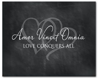 Amor Vincit Omnia - Love conquers all Quote - Latin Inspirational PRINT - Anniversary, Wedding Gift - Wall Decor - gift for couple