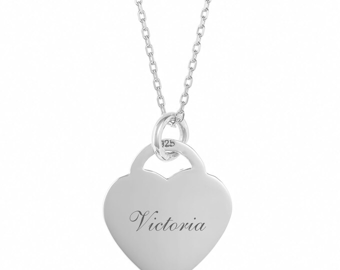 Personalised 925 Sterling Silver Heart Tag Necklace - Engraved Name, Initials or Message