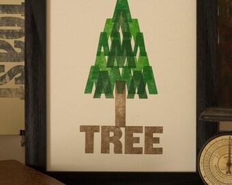 Tree Letterpress Print