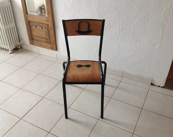 "Restyled, school metal Chair model ""Mulca 510"" Gaston Cavaillon"