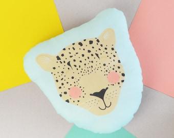 Leopard Cushion, Children's Leopard Face Cushion, Illustrated Leopard Head Plush Cushion, Kids Bedroom Decor, Children's Nursery Cushion