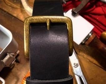 Latigo cowhide belt with nickel free buckle