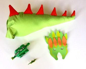 Handmade Green Dinosaur Tail for Kids
