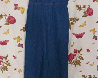 Vintage 90s grunge apron dungaree style chambray denim empire line maxi dress S
