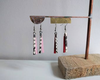 Exotic leather and cowhide pierced earrings