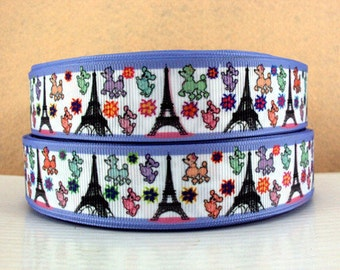 1 inch EIFFEL Towers and Poodles Paris - - Printed Grosgrain Ribbon for Hair Bow