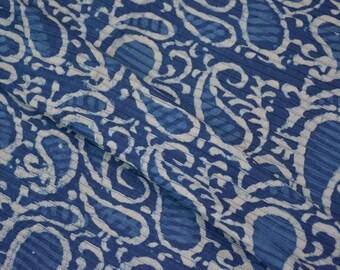 Paisley Block Printed Pintuck Fabric