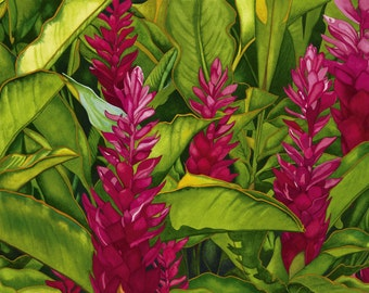 Watercolor painting...TROPICAL FEVER...red ginger...giclee