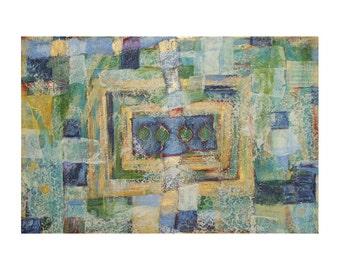 Aspen Collage- 36x24- Original Large Art- Mixed Media on Matboard- Blue, Green, Gold Metallic- Leaves, Lace, Music