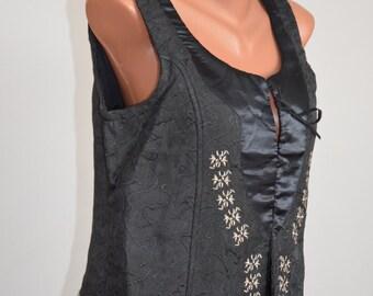 Vintage Embroidery Bustier size M L 36 38 Black Vast Ethno Sleeveless Satin Top