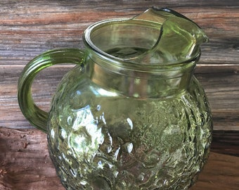 Vintage, Green, Bubble Pitcher, Anchor Hocking, Green Pitcher, Glass Pitcher, Green Glass , Vintage Kitchen