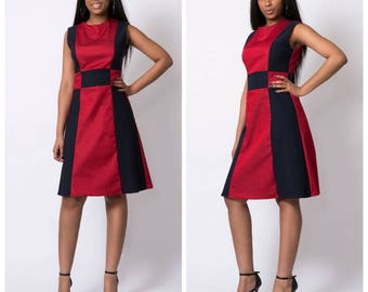 Navy blue/red 60's mod retro aline dress