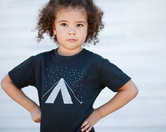 Wanderlust Camping Tent Shirt Boys or Girls, New Dad Gift, Outdoor Gift Kids, Sister Brother Gift, Unisex Baby Toddler Youth Tshirt