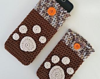 "PDF: Smartphone Cozy ""Paw Print"" Crochet Pattern"