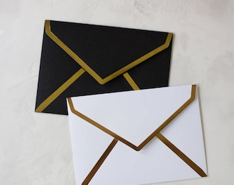 Foil Seam Euro (Pointed) Flap A7 Envelopes - Black + Gold / White + Rose Gold - 10 pc