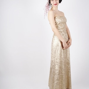Flash SALE 60% - Vintage Beaded Dress - Strapless Gold Dress - Gold Gown -