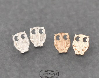 Owl stud Earrings - gold or silver, silver Owl stud, gold Owl stud, post earrings, Owl Ear Studs, gold owl earrings, silver owl earrings